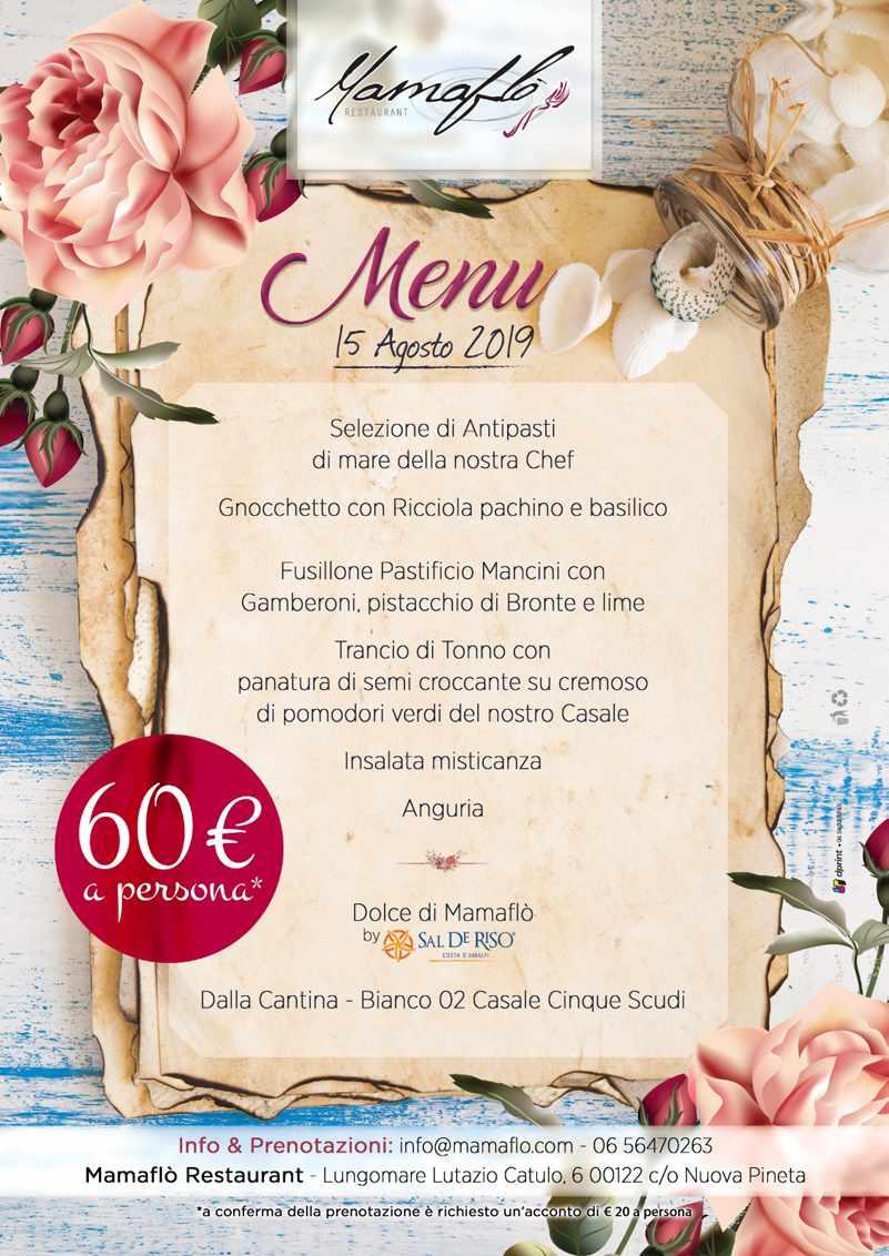 menu ferragosto 2019
